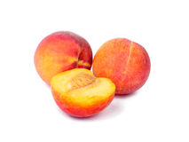 Peach fruits isolated on white Stock Photo