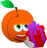 Peach giving you a gift box Stock Photography