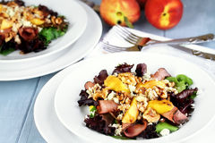 Peach, Gorgonzola And Pastrami Salads Royalty Free Stock Image