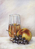 Peach, grapes, juice Royalty Free Stock Images