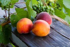 Peach and grapes. Peaches and grapes are on the board stock photo