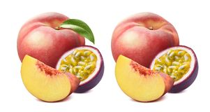 Peach with green leaf and passion fruit isolated on white backgr Stock Images