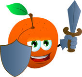 Peach guard with shield and sword Stock Photography