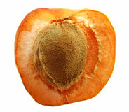 Peach half. Half of a fresh peach, with the pit exposed. Isolated on white royalty free stock image