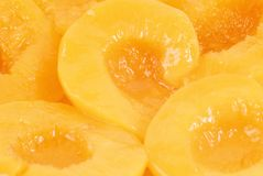 Peach halves in light syrup Stock Images