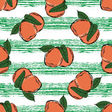 Peach hand drawn pattern. Green strrips Stock Images