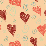 Peach Hearts Pattern. A seamless pattern of scribble hearts and swirls on a peach background Stock Illustration