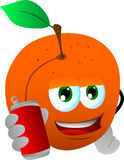 Peach holding beer or soda can Royalty Free Stock Image