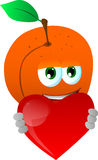 Peach holding a big red heart Royalty Free Stock Photo