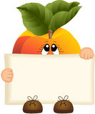 Peach holding a blank sign Royalty Free Stock Photo