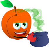 Peach holding cauldron with potion Stock Image