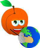 Peach holding Earth Royalty Free Stock Image