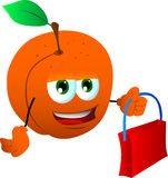 Peach holding an empty bag Stock Image