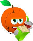 Peach holding popcorn and soft drink Stock Images