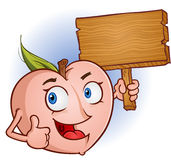 Peach Holding Sign. A cheerful peach character holding a wooden sign and giving the thumbs up Royalty Free Stock Photo