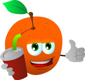 Peach holding soda and showing thumb up sign Royalty Free Stock Photo