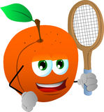 Peach holding a tennis rocket Royalty Free Stock Image