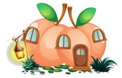 Peach house with lantern in garden. Illustration vector illustration