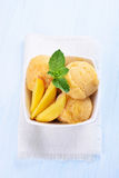 Peach ice cream with slices Stock Photos