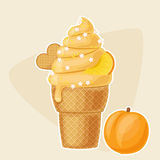 Peach ice cream in a waffle cup Stock Photography