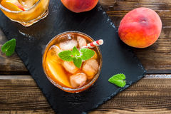 Peach iced tea Royalty Free Stock Image