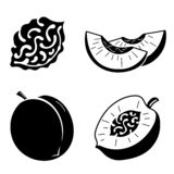 Peach icons set, simple style royalty free illustration