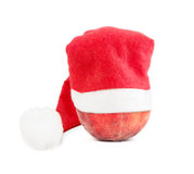 Peach In A Christmas Hat Royalty Free Stock Photo