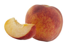 Peach isolated. Peach whole and slice isolated Stock Image