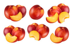 Peach isolated. Collection of nectarines isolated on white background with clipping path. Collection of whole and cut peach fruits isolated on white background Royalty Free Stock Images