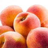 Peach isolated. Fruits macro. Peach isolated on white background. Fruits macro Royalty Free Stock Photography