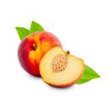 Peach isolated. Photo of peach with slice isolated on white Royalty Free Stock Images