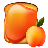 Peach jam breakfast toast Royalty Free Stock Images