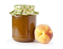 Peach jam and fresh peaches Royalty Free Stock Image