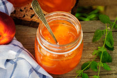 Peach Jam in a Glass Jar Royalty Free Stock Image