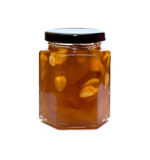 Peach jam glass jar reflected Stock Photography