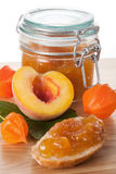 Peach jam in the jar Stock Photo