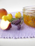 Peach jam with lavender Stock Images