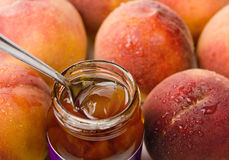 Peach Jam and Peaches Stock Image