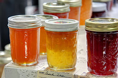 Peach Jam at State Fair. Peach and plum jam, preserves on display at Utah State Fair home canning competition Stock Photo