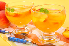 Peach jelly dessert Stock Photos