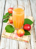 Peach juice and fresh nectarines Stock Photos