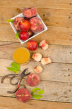 Peach and juice Royalty Free Stock Photography
