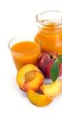Peach juice and fruit Stock Photo
