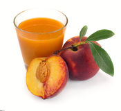 Peach juice and fruit Royalty Free Stock Image