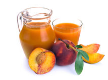 Peach juice and fruit Royalty Free Stock Photo