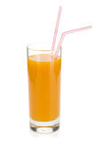 Peach juice in a glass Stock Images