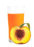 Peach juice in the glass and half of fresh peach isolated Stock Images