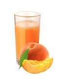 Peach juice in glass and peach fruit isolated on white Royalty Free Stock Photos