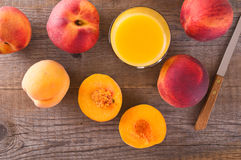 Peach juice. Stock Photos