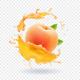 Peach juice. Realistic fresh fruit splash of juice Vector illustration Royalty Free Stock Images